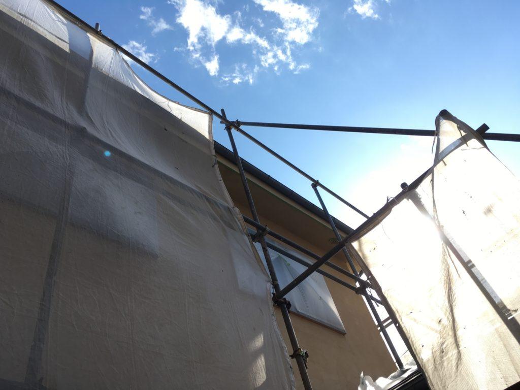 一般住宅の塗装工事、足場