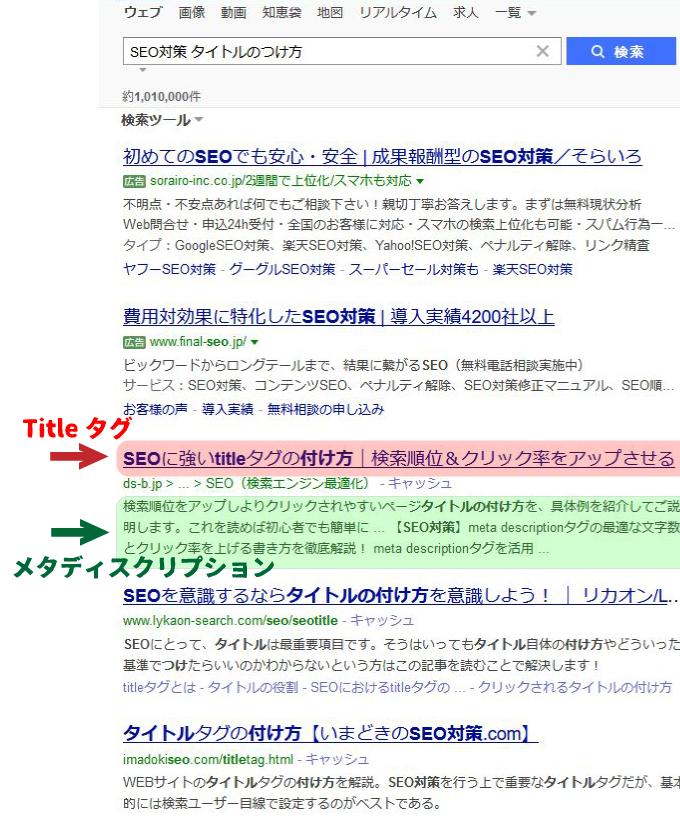 「SEO対策 タイトルのつけ方」で検索した結果のページ。キャプチャ画像