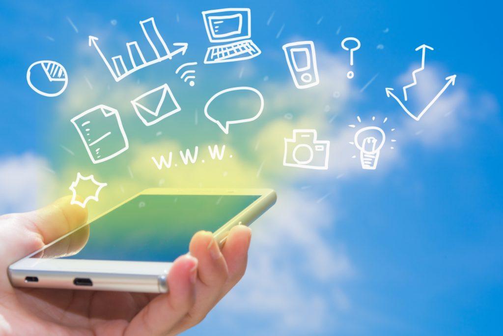スマートフォンに情報が集まるイメージ