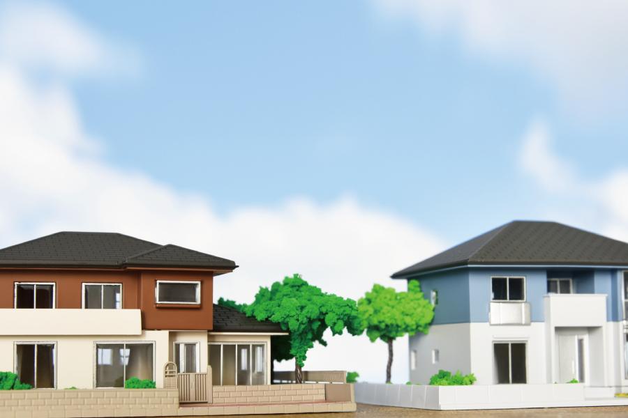 2件並んだ住宅の外観デザイン画