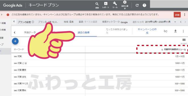 キーワードプランナーの「検索回数」を示すページのキャプチャ画像