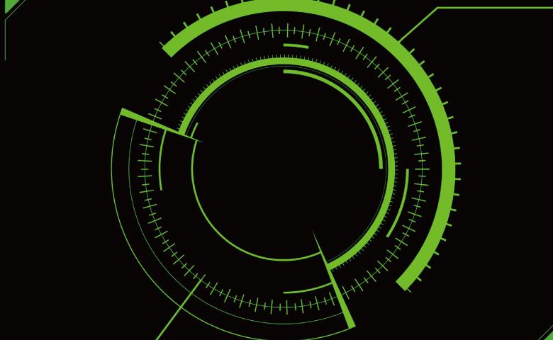 黒地に緑の輪